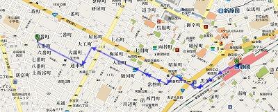 静岡駅から片山米店までの徒歩コース